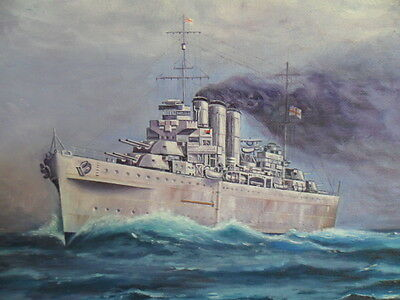 Naval, Royal Australian Navy HMAS CANBERRA  painting by Kevin Hollister 1983