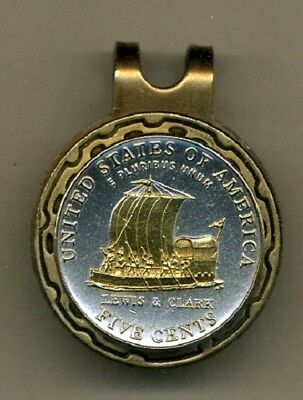 Jefferson Nickel Keelboat Coin Gold on Silver Magnetic Hat Clip / Ball Marker