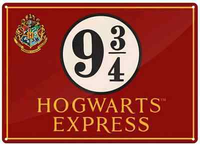 Harry Potter Tin Sign Hogwarts Express Platform 9 3/4 NEW! Half Moon Bay 21x15cm