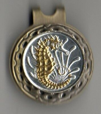 Singapore 10 Cent Sea Horse & Sea Weed Coin Gold On Silver Hat Clip /Ball marker