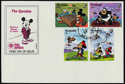 Gambia 1090-1101 on FDC's Disney, Phila Nippon, Japanese Games & Sports