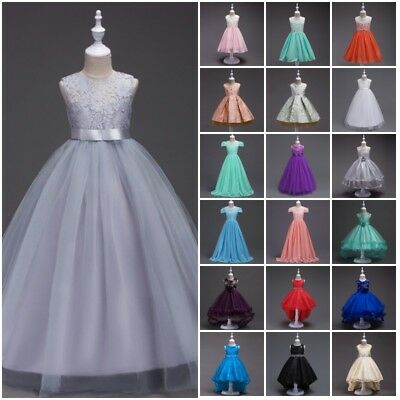 Kids Baby Flower Girls Birthday Dresses Princess Pageant Formal Party Tutu Dress