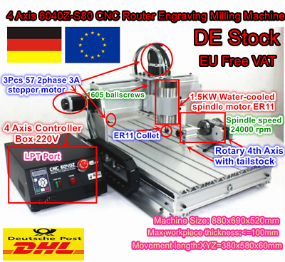 【DE stock】 4 Axis 6040 1.5KW 1500W CNC Router Engraving Milling Drilling Machine