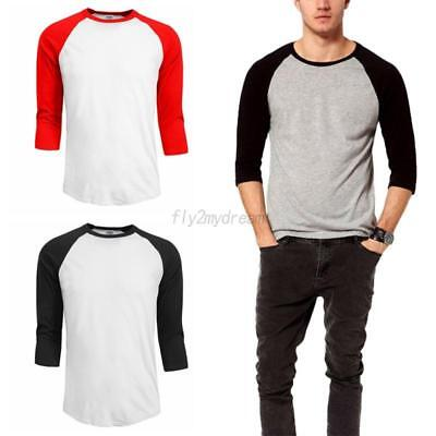 Men Women 3/4 Sleeve 100% Cotton T-Shirt Baseball Running Tee Sports Top Blouse
