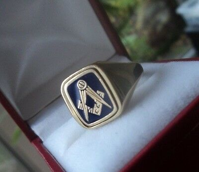 9ct Yellow Gold & Blue Enamel Masonic Swivel Ring   NOT PLATED  size S