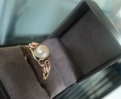 Clogau Welsh 9ct Gold Tree Of Life Freshwater Pearl Ring  -  Size S