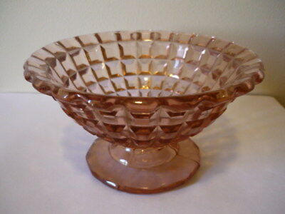Pink Depression glass Candy Dish chip