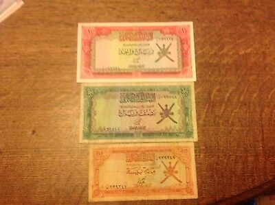 Central Bank Of Oman One Rial Half Rial 100 One Hundred Baisa Banknote