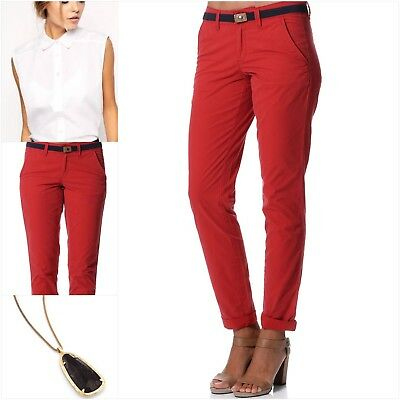 ESPRIT - Women's 100% Cotton Slim Chino Pants with Belt RED **NEW (8,14)