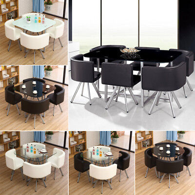 Space Saving Set High Gloss Tempered Glass Dinning Table 4/6 Faux Leather Chairs
