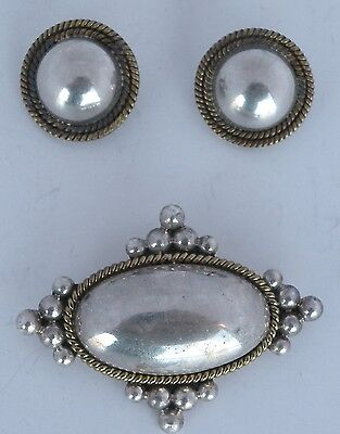 Large Vintage sterling silver & brass earrings pin or pendant set, Mexico, Taxco