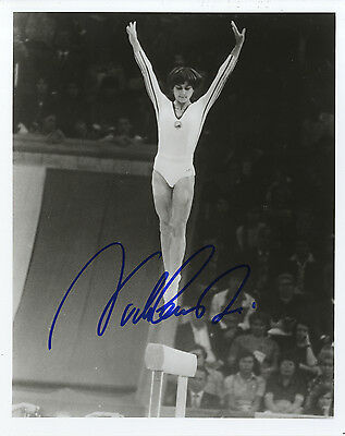 Nadia Comaneci 'Olympic Gold Medal winning Gymnast' In Person Signed Photograph.