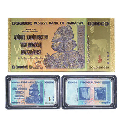 WR Zimbabwe 100 Trillion Dollars 24K GOLD Banknote & SILVER Bar Collectible Gift