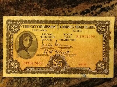 £5 Currency Commission Irish Banknote 4-8-38 - fine