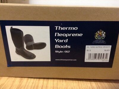 Equestrian, Shires Thermo Neoprene Yard Boots, Size 3, Black, Brand New