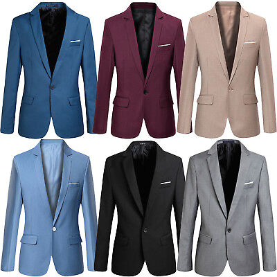 Formal Men's Slim Fit One Button Suit Blazer Business Wedding Coat Jacket Tops