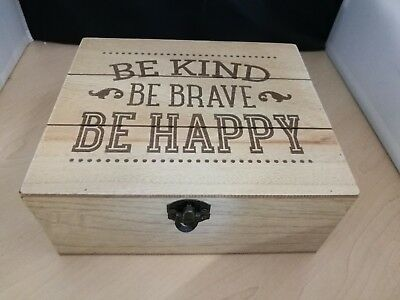 "Wooden Rustic Storage Jewellery Box ""Be Kind Be Brave Be Happy"""