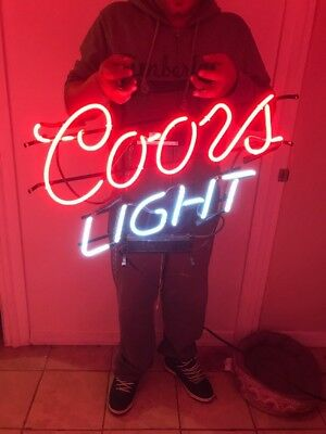Coors Light Beer Neon Lit Bar Sign  Authentic