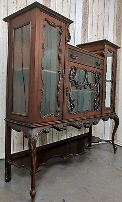 An Antique Edwardian Ornate Display Cabinet Sideboard ~Delivery Available~