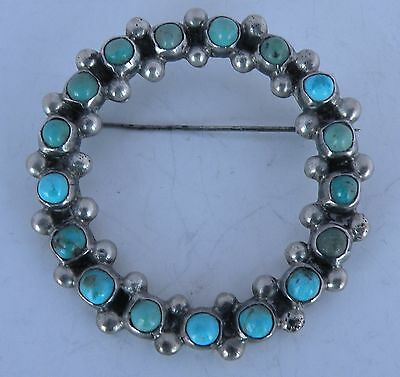Vintage sterling silver, petit point Turquoise round pin brooch Mexico 1950's