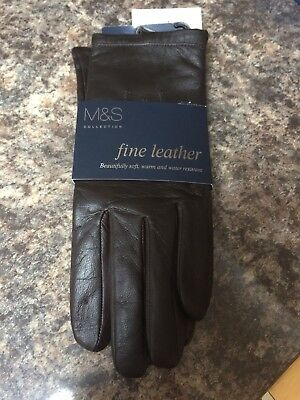 Bnwt Ladies M&S Brown Leather Gloves Size m Xmas gift