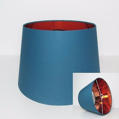 Tapered Teal Blue Copper Empire French Drum Lampshade Lightshade Floor Stand