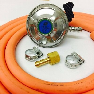 21Mm Butane Regulator + Bbq Nut And Nozzle Connection + 2M Gas Hose + 2 Jubilee