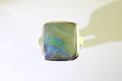 Blue, Green & Purple Solid Boulder Opal Ring in Sterling Silver