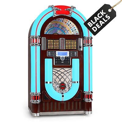 Retro Rock & Roll Jukebox Vintage Record Turntable Radio Cd Player Usb Sd Aux