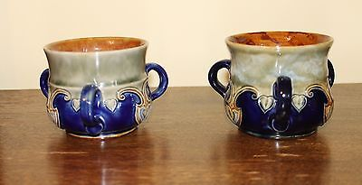 Near Pair Royal Doulton Stoneware Tygs Three Handled Mugs Cups