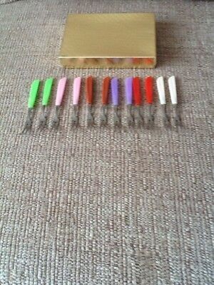 Set Of 12 Tiny RETRO Pickles Forks - Pink / Purple / Brown / Green / Red