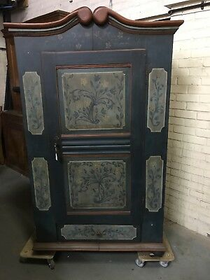 Original Antique Painted Cupboard Armoire Wardrode Blue Floral Vintage Shop