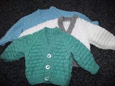 Hand Knitted Cardigans for Newborn Baby Boy
