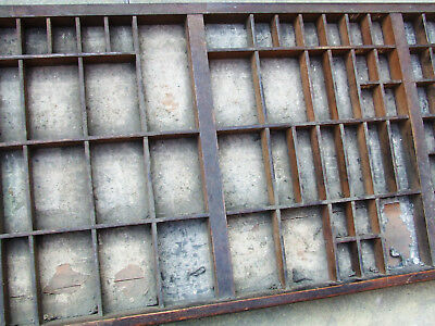 Letterpress Printing VERY OLD WOODEN TYPECASE with split in base and 'penny hole