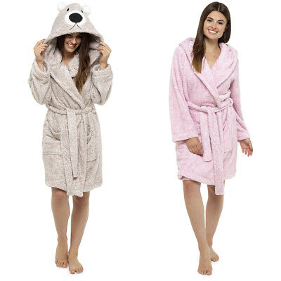 Ladies Fleece Animal Hooded Novelty Robe/Dressing Gown Size 8 - 22 Pink/Brown