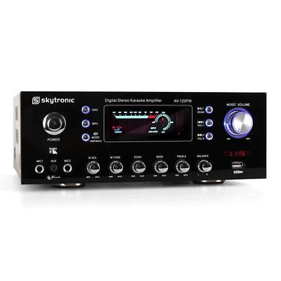 NEW STYLISH HOME AUDIO STEREO HIFI AMPLIFIER KARAOKE 2x MIC EQ ECHO USB KARAOKE