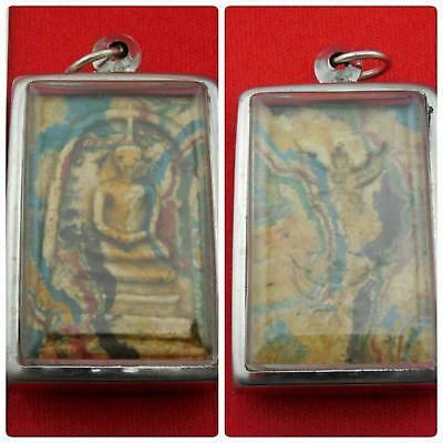 Rare 2 Garudas Asian Antiques Phra Somdej Rainbow Magic Thai Pendant Amulet