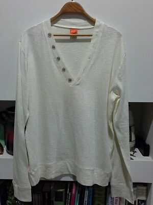 Hugo Boss Cream Natural Knit Jumper Top Size Large Long Sleeves