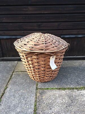 Antique Rare Cobblers Leather Labeled Large Wicker Log Laundry Basket