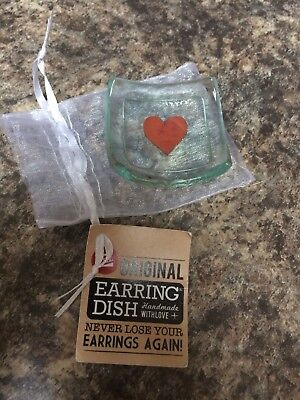 The Original Earring Dish By Jo Downs Handmade Glass Metallic Heart Xmas gift