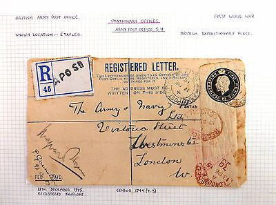GB 1915 Army Post Office Expeditionary Force Registered Envelope to London AC152