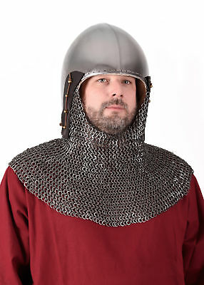 Bascinet /w chainmail aventail 2mm steel medieval helmet 15th knight armour LARP