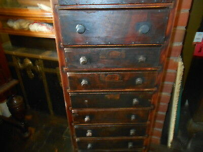 Antique 12 Drawer Factory Tool Storage Cart - Local Pick Up Only