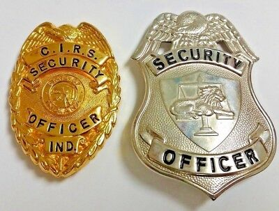 2 Vintage Security Officer Shield Badges Tactical 365 Lion On Scale + CIRS IND.