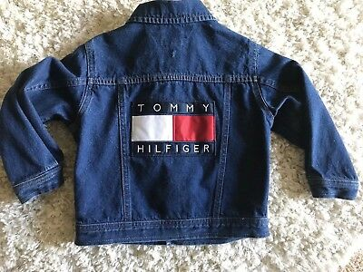 Vintage Tommy Hilfiger Kids Jean Jacket GIANT FLAG And Spell Out! Sz 3t EUC RARE