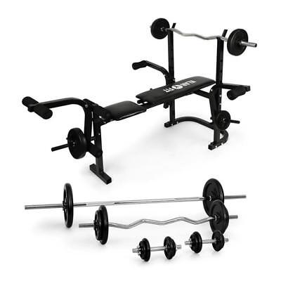 COMPLETE STARTER  FOLDABLE MULTI WEIGHT BENCH SET WITH 18 x BARBELL DUMBELL SET