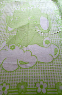"""Children's Blanket """" Elephant Green """" 100% Cotton! Made in Germany"""