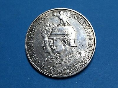 Antique 1901 Germany Prussia 2 Mark 200 Years Kingdom Silver Coin