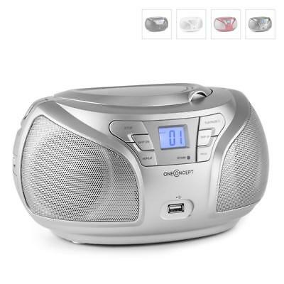 Portable Stereo Boombox Cd Player Silver Hifi Fm Radio Mp3 Bluetooth Speaker