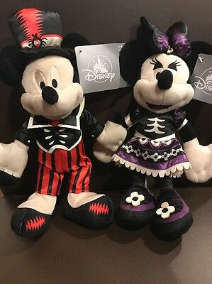 "2017 Halloween Disney Parks Mickey And Minnie Plush Doll  Set 9"" NEW"